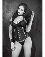 Faux Leather Pdded Push Up Corset w/Undr Wred Cps, Grommets, Lace Up Back and G-String Black