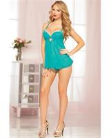 Mesh and Lace Underwire Babydoll w/Adjustable Straps and Thong Teal LG