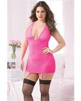Floral Galloon Lace and Mesh Chemise w/Corsetry Back Detail, Rmvble Grter Strap and Thng Hot Pink
