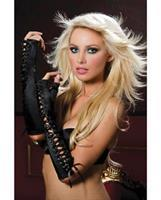 Fingerless Elbow Length Lace-Up Gloves Black
