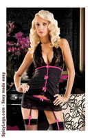 Pinstripe halter cami, skirted thong with attached garters