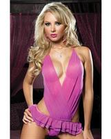 Mesh Teddy Shirred Cross Front Panels with Ruffle Skirted Thong