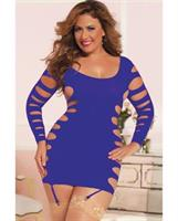 Seamless Long Sleeve Dress w/Slash Sides and Removable Garters Purple QN
