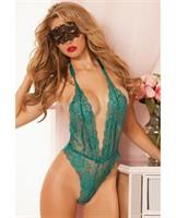Floral Lace Teddy w/Halter Satin Ribbon Ties and Snap Crotch Emerald
