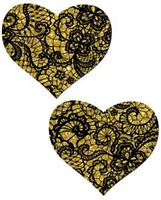 Tease Gold Lace Print Heart