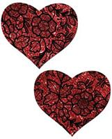 Tease Red Lace Print Heart