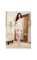 Scalloped Pattern Lace Halter Apron Babydoll w/Attached Garter Straps and Panty White