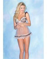Sheer Chemise w/Lace and Padded Cups and Thong Pink