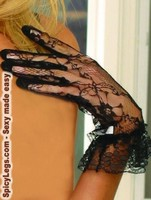 Lace wrist length gloves & ruffle trim