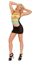 Opaque mini dress with neon straps.