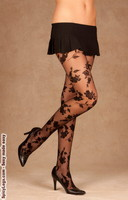 Flocked floral design pantyhose