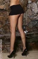 Lycra diamond net back seam pantyhose with attached panty