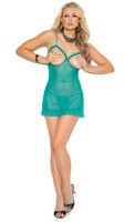 Mesh cupless babydoll with adjustable straps and matching g-string included.