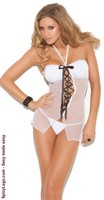 Mesh Halter Neck Babydoll and Matching G-string