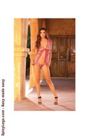 Deep V-front babydoll with hook front closure