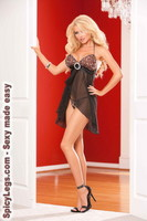 Chiffon halter style baby doll with matching g-string