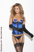 Satin bustier with heart pasties