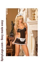 Workin' Late - Mesh halter style apron and panty