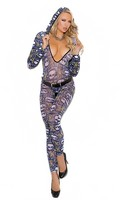 Hooded deep V bodystocking features a skull motif. Crotchless.