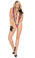 Halter neck suspender teddy with contrast trim.