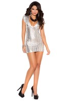 Cut out lamé deep V short sleeve mini dress.