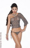 Mesh one shoulder top and tie side g-string