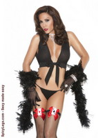 Fishnet thigh hi with card suit and satin bows