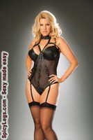 Leather and fishnet underwire teddy with thong back and detachable garters