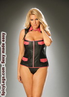 Zip up leather corset with faux pockets
