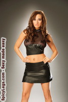 Leather and fishnet halter top with nail heads