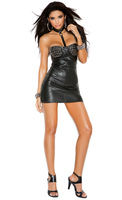 LEATHER DRESS W/SPIKES ON CUPS