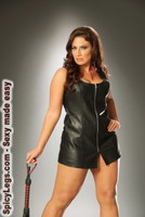 Zip front leather mini dress with leather back