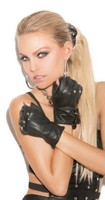 Leather Fingerless Gloves with Nail Heads