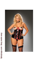 Vinyl cupless corset with zip front and detachable garters