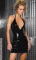 Deep v vinyl halter dress with nail heads