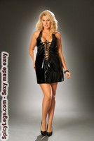 Vinyl mini dress that laces up the front and back