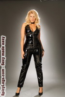 Deep V vinyl catsuit with zipper front