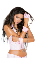 PINK VINYL FINGERLESS GLOVES