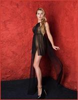 Long Stretch Mesh Gown