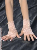 Nude Color Ribbon Embroidered Fingerless Gloves