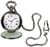 Silvertone Pocket Watch With Chain Costume Accessory