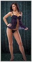 Black Purple Babydoll With G-String