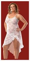 White Lace Plus Size Gown With G-String
