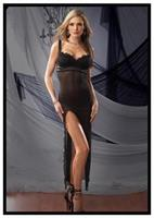 Satin And Mesh Empire Gown With G-String Mesh