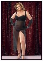 Satin And Mesh Empire Plus Size Gown With G-String Mesh