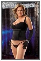Black Plus Size Bustier With G-String