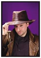 Fedora Brown Leather-Look Hat