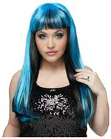 Black Blue Natural And Neon Wig