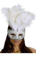 Carnival Mask Big Feather White/Silver