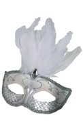 Carnival Mask Accent White/Silver